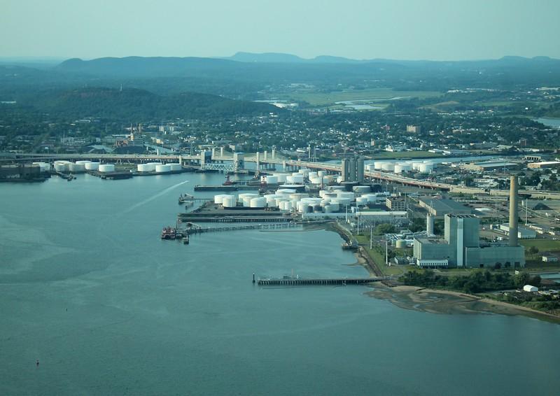 New Haven Harbor, Sleeping Giant upper left.