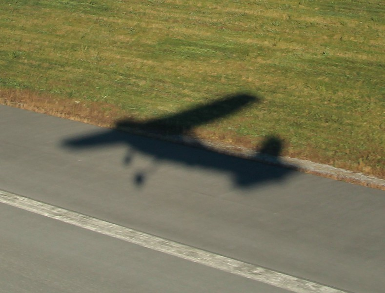 Our shadow departing runway 26 at 08:44hrs