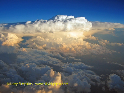 View of a thunderstorm over Louisiana from 37,000  feet.