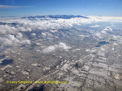 Heading east out of Salt Lake City, Utah at 12,000 feet and climbing.