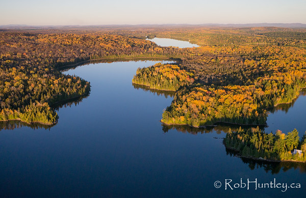 Fall Colours on Big Cedar Lake, Quebec. Aerial photography.