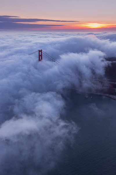 Aeriel Golden Gate Bridge Sunset