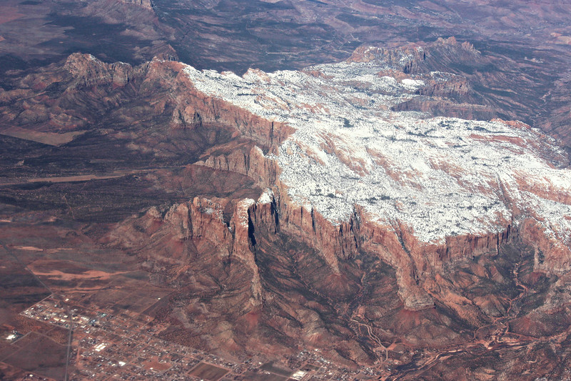 Snow Covered Mesa and Town