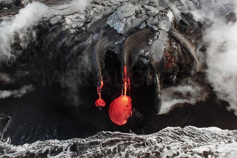 Lava Ocean Entry Closeup