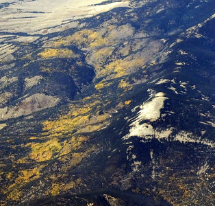 the yellow aspen trees in the southern Rockies from 35, 000 feet in the air!