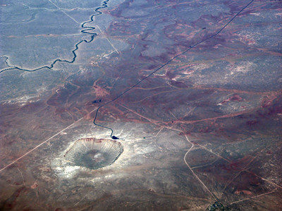 Barringer Meteor Crater Arizona, from 39,000 feet