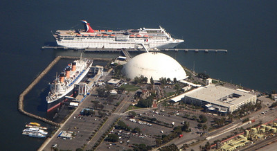 Long Beach harbor: Queen Mary and cruise ship