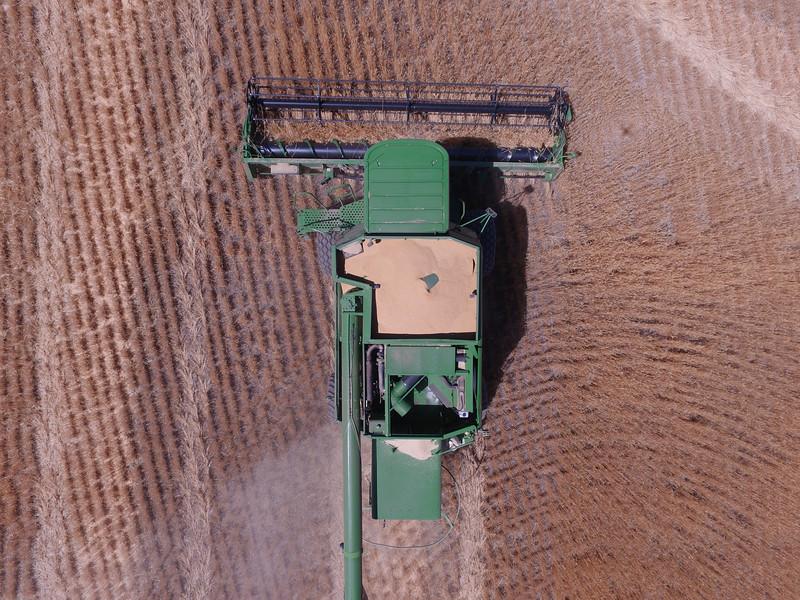 John Deere combine seen from above.