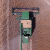 John Deere combine seen from above.