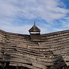 Sagging barn roof with steeple.