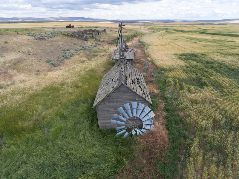 Windmill leaing by a field