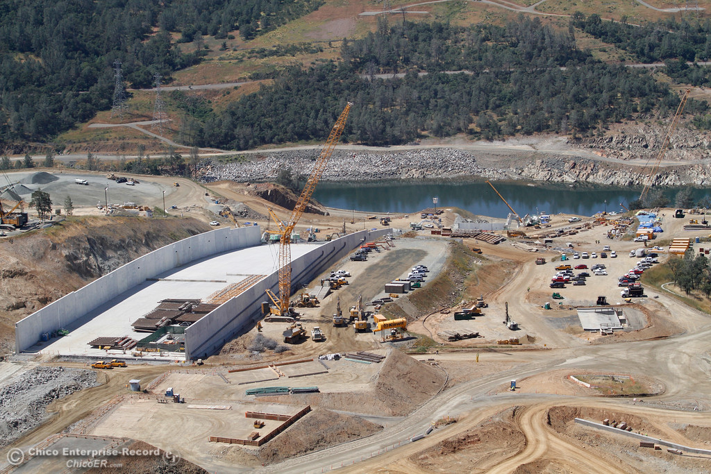 . Looking down to the Diversion Pool. An aerial view of the Oroville Dam and spillway from the Butte County Sheriff\'s Office helicopter Friday, May 17, 2018, in Oroville, California. (Dan Reidel -- Enterprise-Record)