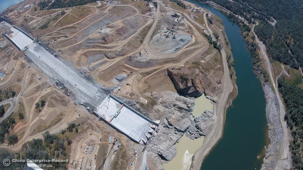 . Spillway and Diversion Pool. An aerial view of the Oroville Dam and spillway from the Butte County Sheriff\'s Office helicopter Friday, May 17, 2018, in Oroville, California. (Dan Reidel -- Enterprise-Record)