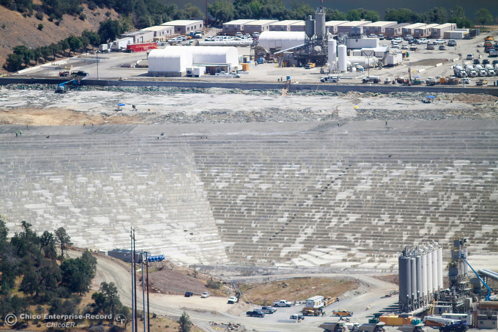 . Emergency spillway splash pad. An aerial view of the Oroville Dam and spillway from the Butte County Sheriff\'s Office helicopter Friday, May 17, 2018, in Oroville, California. (Dan Reidel -- Enterprise-Record)