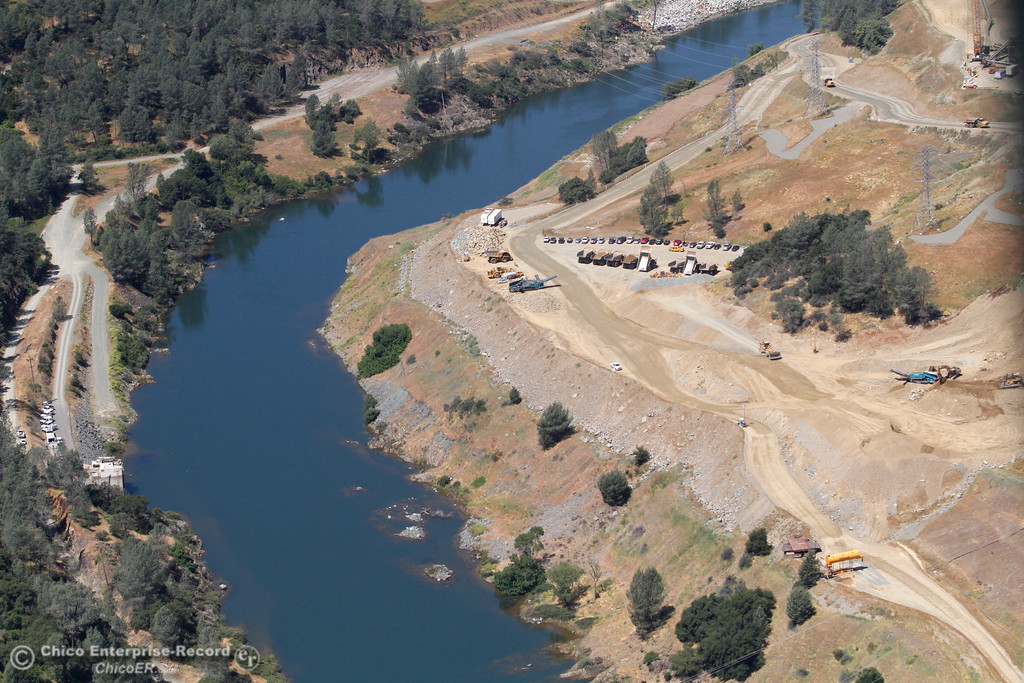 . Diversion Pool between dam and spillway. An aerial view of the Oroville Dam and spillway from the Butte County Sheriff\'s Office helicopter Friday, May 17, 2018, in Oroville, California. (Dan Reidel -- Enterprise-Record)