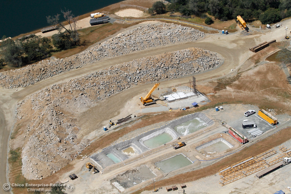 . Diversion Pool at top left of frame. An aerial view of the Oroville Dam and spillway from the Butte County Sheriff\'s Office helicopter Friday, May 17, 2018, in Oroville, California. (Dan Reidel -- Enterprise-Record)