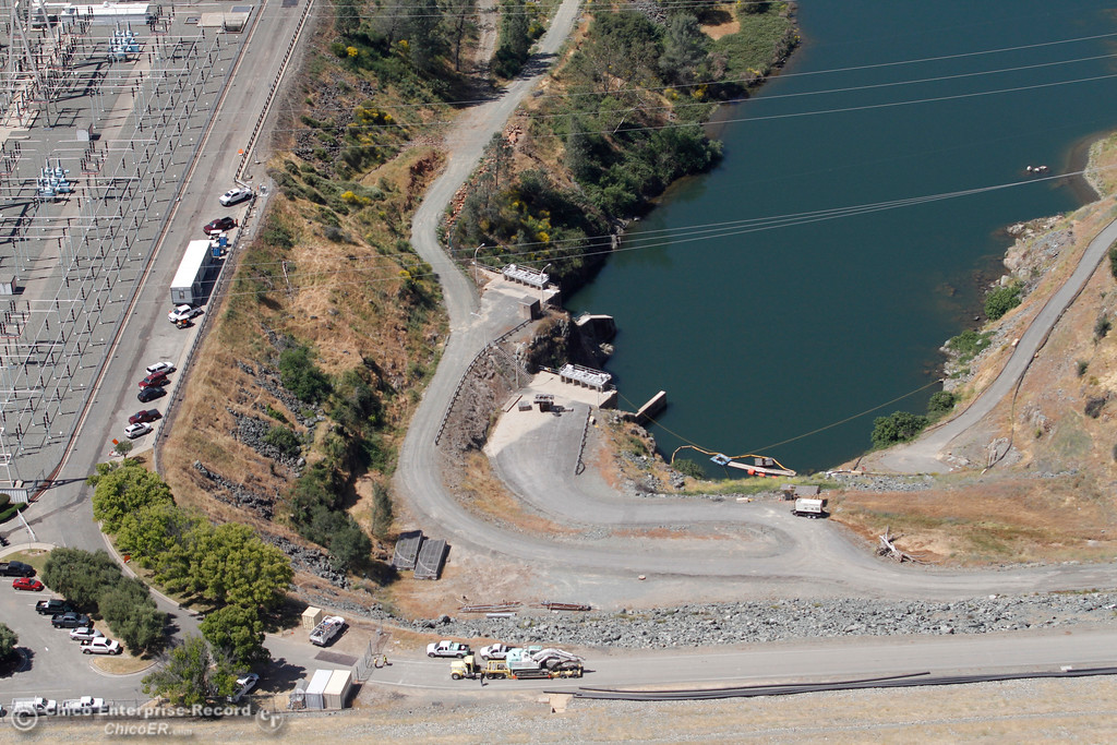 . Hyatt Powerplant with dam at bottom of frame. An aerial view of the Oroville Dam and spillway from the Butte County Sheriff\'s Office helicopter Friday, May 17, 2018, in Oroville, California. (Dan Reidel -- Enterprise-Record)