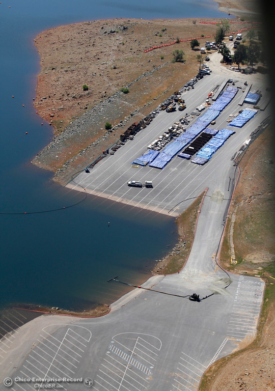 . The Spillway Launch Ramp was one of the most-used boat ramps on Lake Oroville. Now the area once run by California State Parks is a construction site. An aerial view of the Oroville Dam and spillway from the Butte County Sheriff\'s Office helicopter Friday, May 17, 2018, in Oroville, California. (Dan Reidel -- Enterprise-Record)