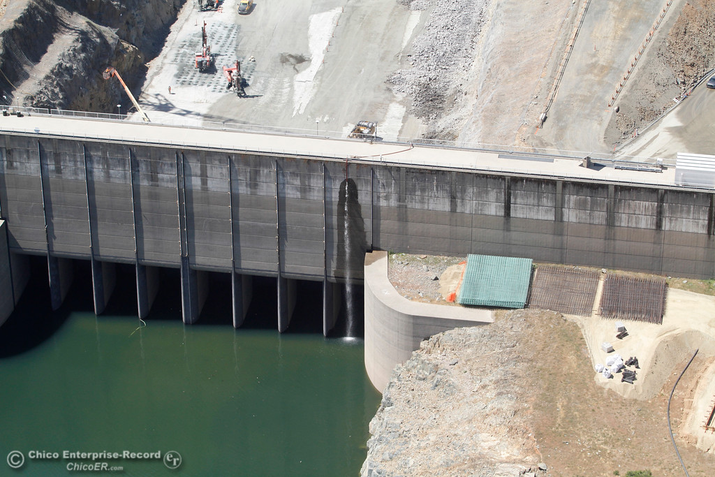 . Top of spillway from over Lake Oroville. An aerial view of the Oroville Dam and spillway from the Butte County Sheriff\'s Office helicopter Friday, May 17, 2018, in Oroville, California. (Dan Reidel -- Enterprise-Record)