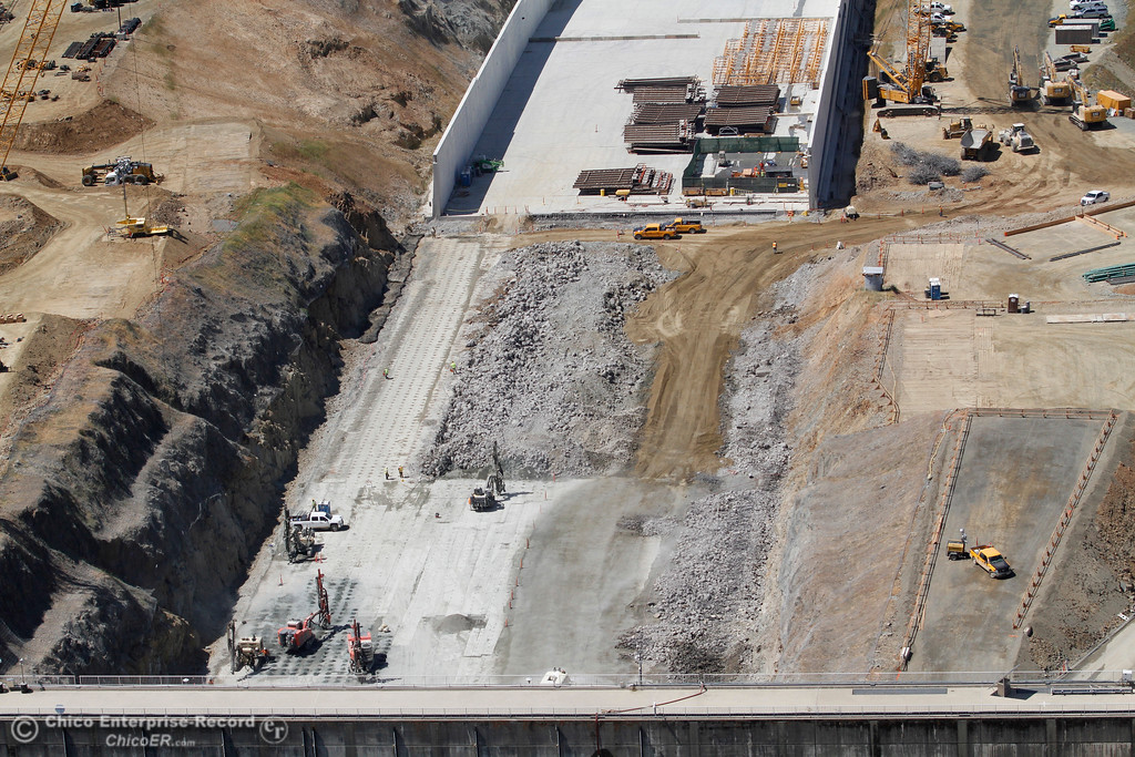 . Top of spillway, helicopter over Lake Oroville, looking toward Diversion Pool. An aerial view of the Oroville Dam and spillway from the Butte County Sheriff\'s Office helicopter Friday, May 17, 2018, in Oroville, California. (Dan Reidel -- Enterprise-Record)