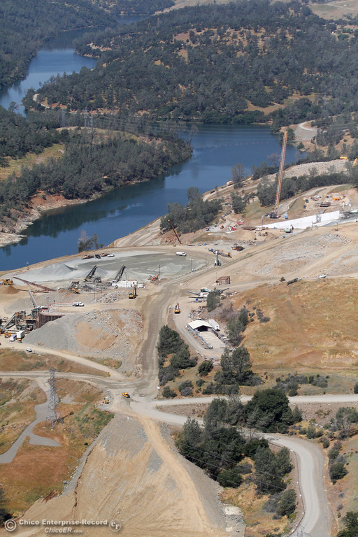 . Diversion Pool with spillway walls barely visible (light color at left center). An aerial view of the Oroville Dam and spillway from the Butte County Sheriff\'s Office helicopter Friday, May 17, 2018, in Oroville, California. (Dan Reidel -- Enterprise-Record)