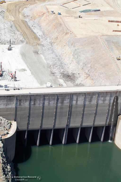. Spillway gates from over Lake Oroville. An aerial view of the Oroville Dam and spillway from the Butte County Sheriff\'s Office helicopter Friday, May 17, 2018, in Oroville, California. (Dan Reidel -- Enterprise-Record)