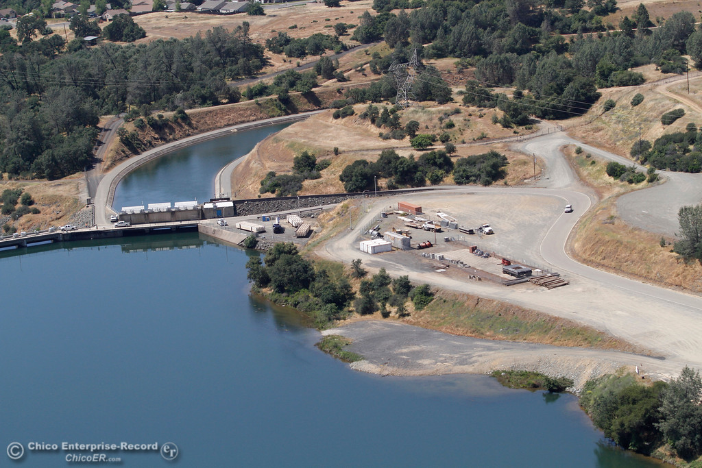 . Dam at the end of the Diversion Pool. An aerial view of the Oroville Dam and spillway from the Butte County Sheriff\'s Office helicopter Friday, May 17, 2018, in Oroville, California. (Dan Reidel -- Enterprise-Record)