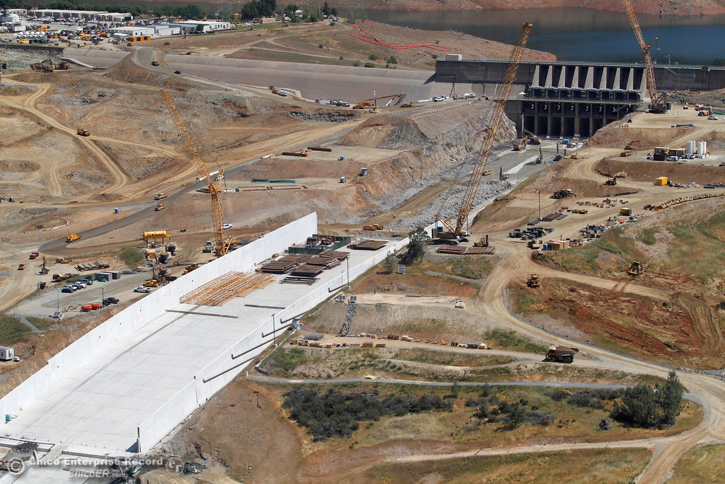 . Looking at the top of the spillway. An aerial view of the Oroville Dam and spillway from the Butte County Sheriff\'s Office helicopter Friday, May 17, 2018, in Oroville, California. (Dan Reidel -- Enterprise-Record)