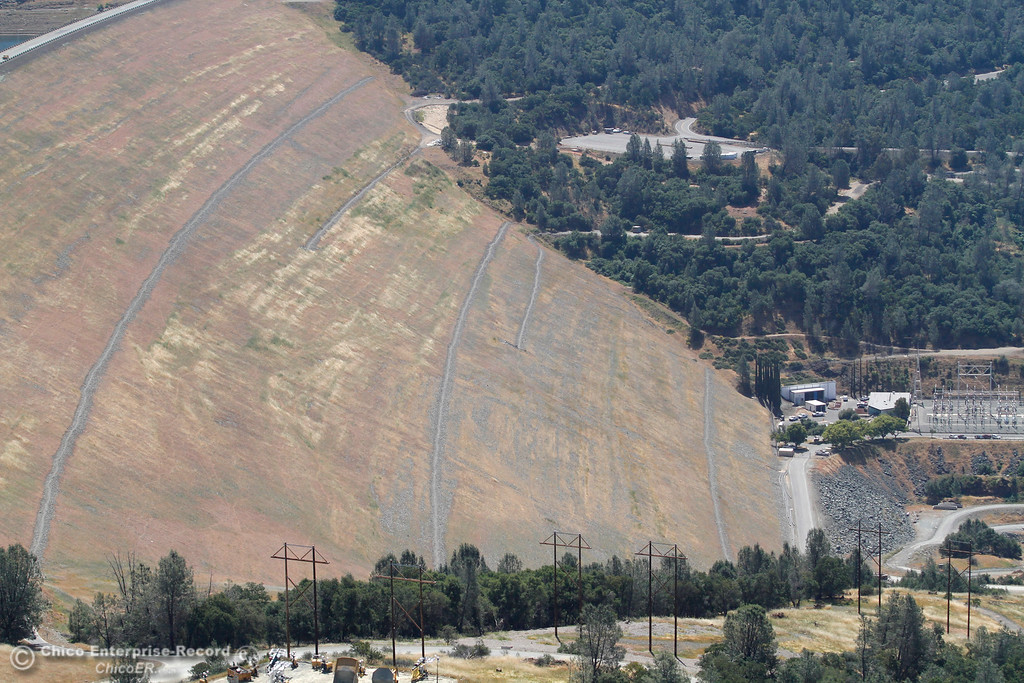 . Oroville Dam and Hyatt Powerplant at bottom right. An aerial view of the Oroville Dam and spillway from the Butte County Sheriff\'s Office helicopter Friday, May 17, 2018, in Oroville, California. (Dan Reidel -- Enterprise-Record)
