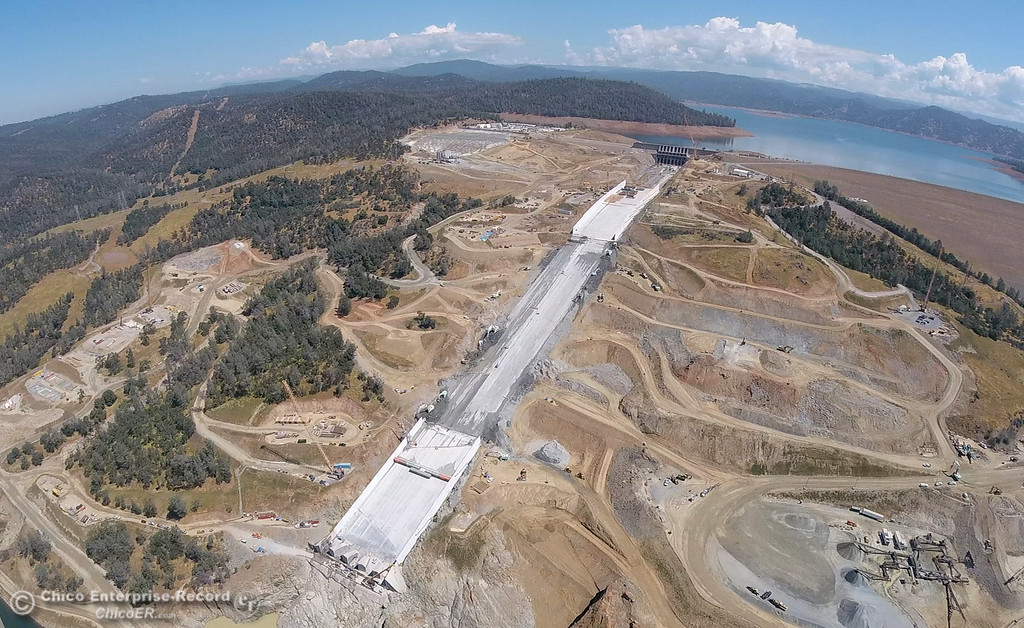 . A GoPro aerial view of the Oroville Dam and spillway from the Butte County Sheriff\'s Office helicopter Friday, May 17, 2018, in Oroville, California. (Dan Reidel -- Enterprise-Record)
