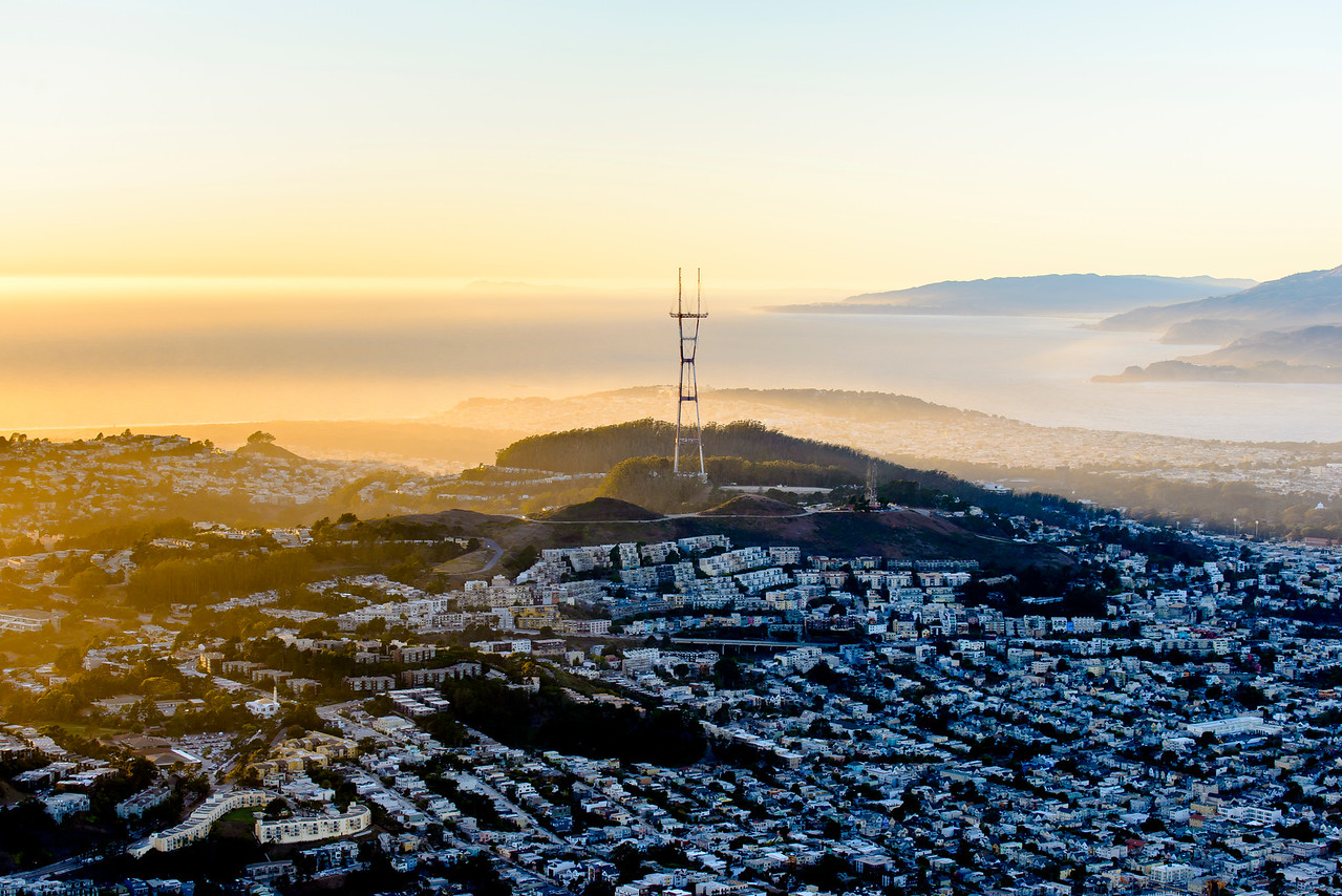 Sutro Tower at Sunset from the Air, San Francisco