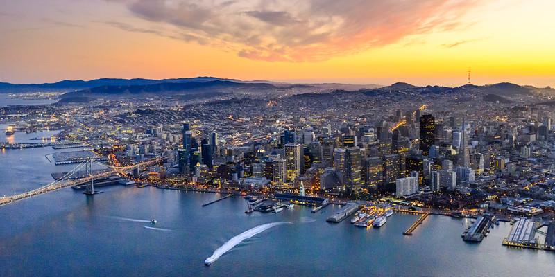 Aerial landscape photo of San Francisco at Sunset