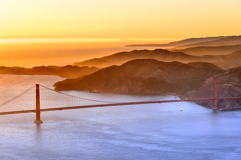 The Golden Gate Bridge From Above... At Sunset