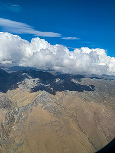 Aerial View Mountain range with beautiful cloud formation Wye Creek New Zealand.