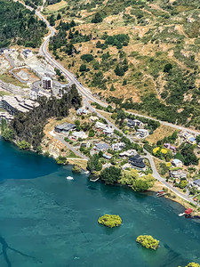 Aerial view Frankton Arm near Queenstown Airport Otago New Zealand