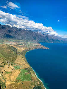 Aerial view Frankton Arm Lake Wakatipu near Queenstown Airport New Zealand.