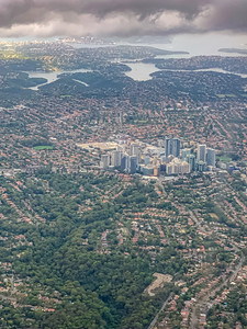 Aerial view Killara near Sydney New South Wales Australia with the central business district at the center of the image.
