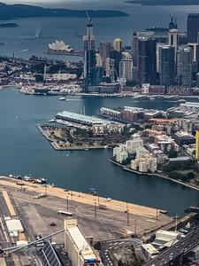 Aerial view Sydney opera house, Sydney harbor, Sydney financial district,  Sydney Australia