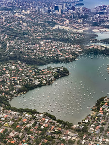 Aerial view Riverview near Sydney New South Wales Australia. Boats are in the harbor creating a beautiful scenery.
