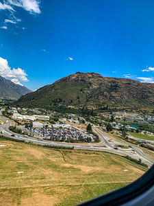 Aerial view of a city settlement near the Queenstown Airport New Zealand.