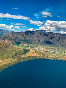 Aerial view Southern Alp, Ka tiritiri o te Moana, Frankton Arm Lake Wakatipu near Queenstown Airport New Zealand.