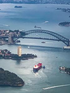 Aerial view Sydney harbor bridge, Sydney Australia