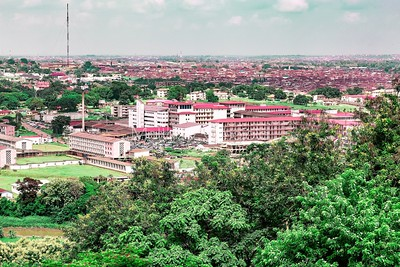 Aerial view of UCH, University College Hospital Ibadan Nigeria. Ibadan City is seen in the distance