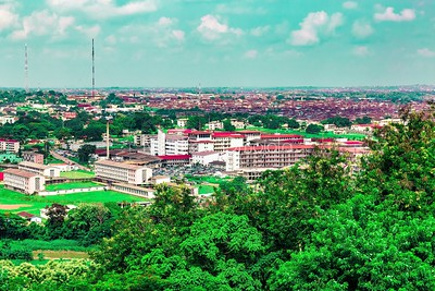 Aerial view of the UCH, University College Hospital Ibadan Nigeria. Nursing hostel is to the left while Ibadan City is in the far distance.