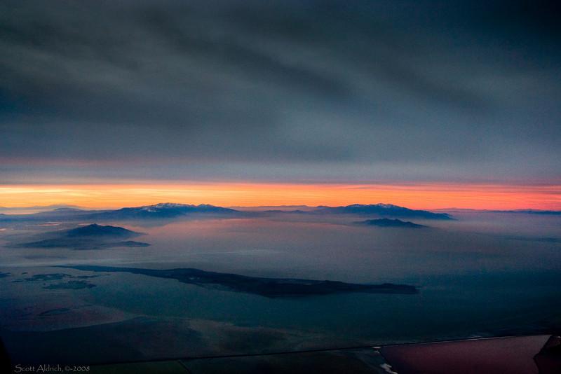 Great Salt Lake - foggy morning - low light.