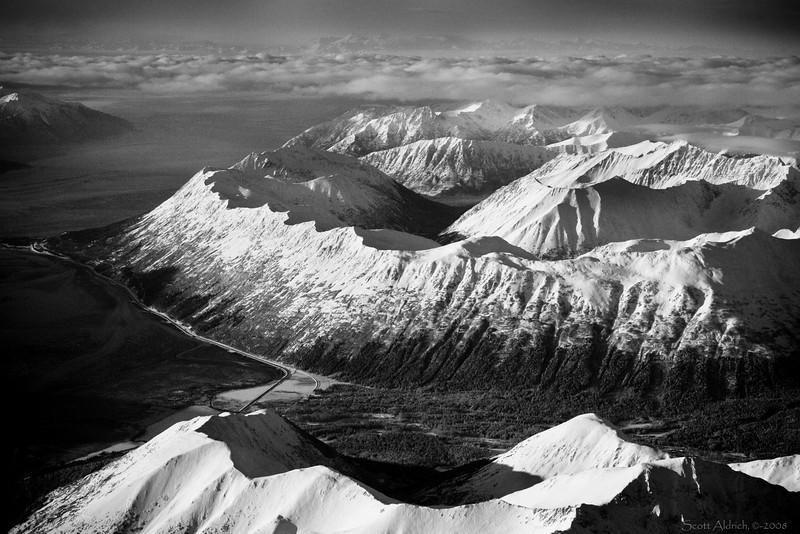 Alyeska ski resort - Girdwood, Alaska. Turnagain Arm and Seward Highway.  On descent into Anchorage.