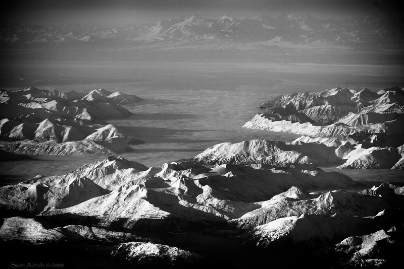 Whittier in foreground - Turnagain Arm fogged in - then Alaska range on far side of Cook Inlet.