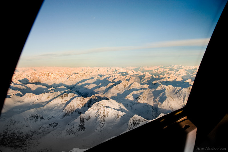 Looking out side window of 757 descending into Anchorage - looking North.