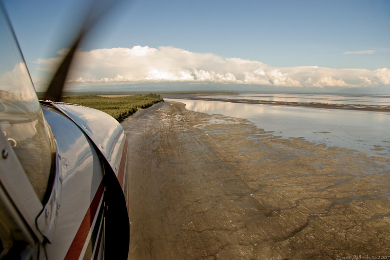 Flying along Knik arm towards Echo Lake, Alaska.