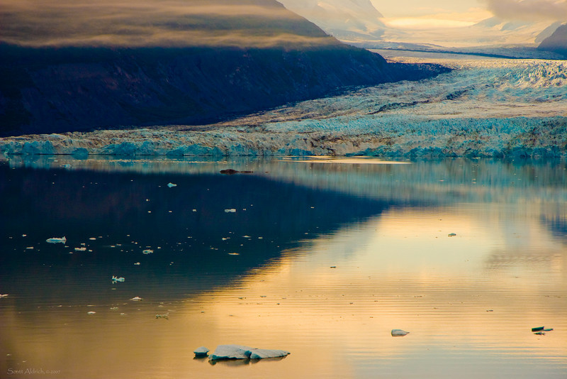 Inner Lake George and the Colony Glacier, Alaska.